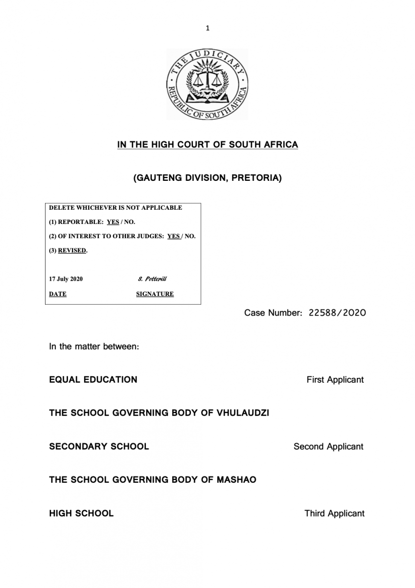 The Equal Education and others v Department of Basic Education and others Judgment front page