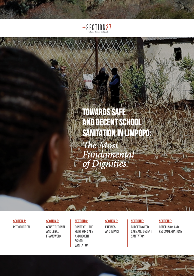 Front cover of our Limpopo Sanitation publication, showing learners using unsafe toilets.