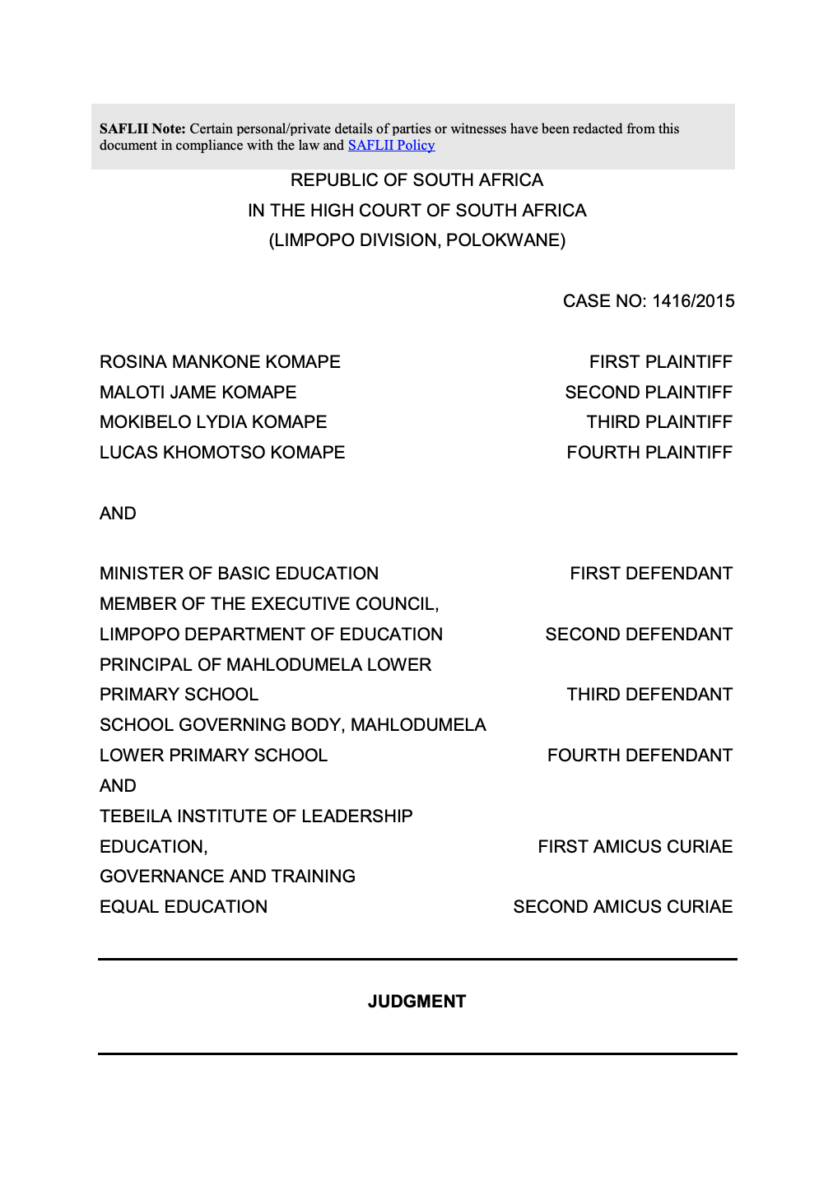 The Polokwane High Court's judgment on the Rosina Komape and others v. Department of Basic Education and Others case.