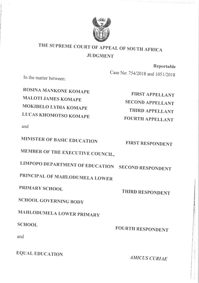The front cover of the SCA judgment in the Rosina Komape and others v. Department of Basic Education and Others appeal.